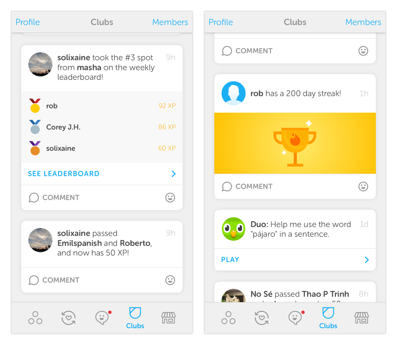 Duolingo Clubs on iOS